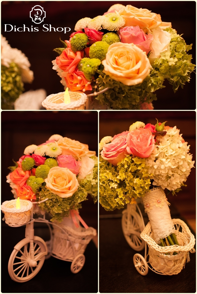 buchet mireasa roz cu verde (4)